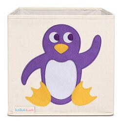 美國kaikai & ash 玩具收納箱 - 俏皮企鵝  摺疊收納箱 玩具收納箱 / 整理箱 / 設計風 / 棉麻 / 不織布