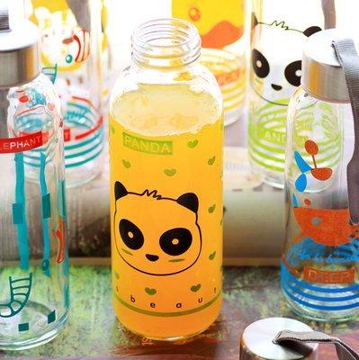 =優生活=韓國卡通萌動物鴨子兔子大象透明運動款密封蓋玻璃杯攜帶玻璃水壺帶拎繩 300ml