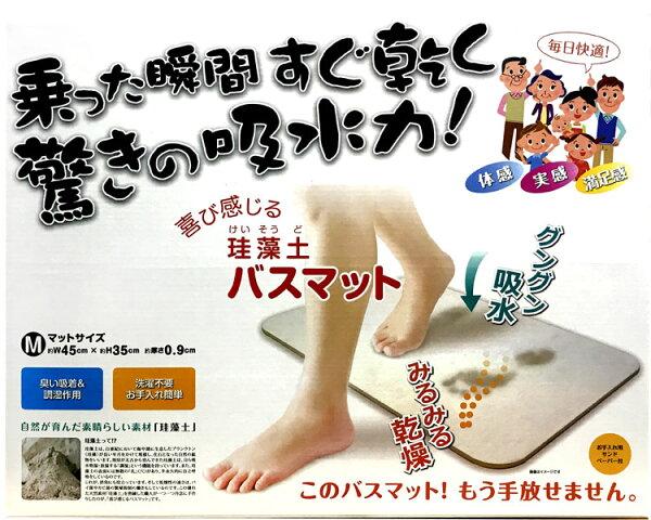 HIRO硅藻土地墊原色M矽藻土珪藻土腳踏墊浴室衛浴踏墊足乾日本進口正版商品019255
