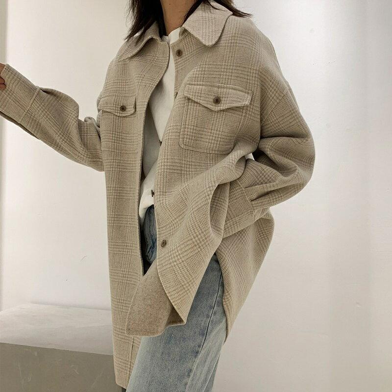 毛呢大衣羊毛外套-長版米色翻領單排扣女外套3款73wb10【獨家進口】【米蘭精品】 1