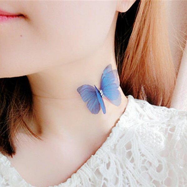 PS Mall 薄紗羽翼水鑽模擬雙層蝴蝶造型隱形魚線短款項鍊 鎖骨鏈 頸鍊【G2471】