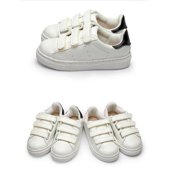 【Mystyle】富發牌3CP23魔鬼氈皮革兒童休閒鞋(白黑、白粉)15-21號-任兩雙免運