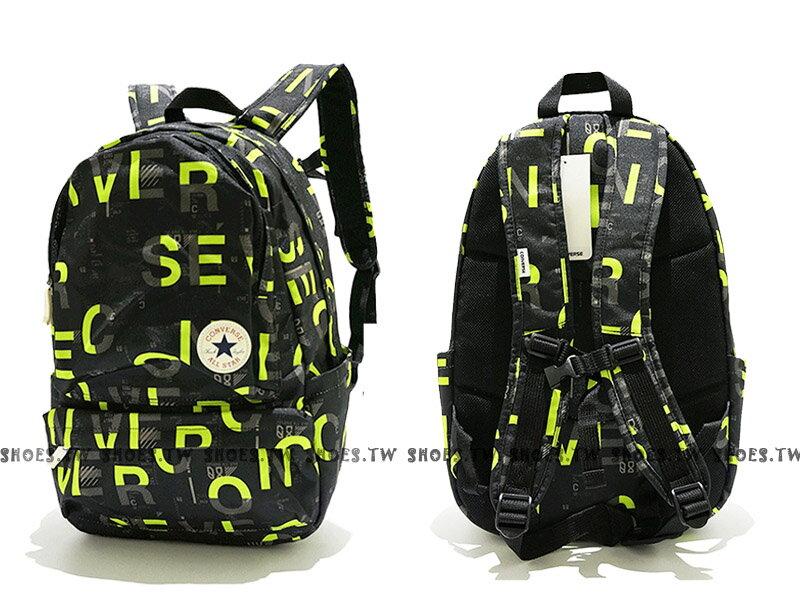 Shoestw【10002975A02】CONVERSE ALLSTAR 後背包 黑螢綠英文字 筆電 I PAD夾層
