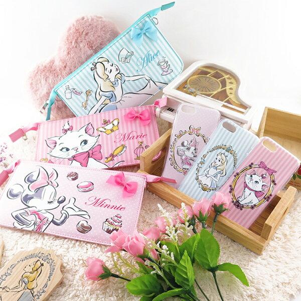 【Disney】迪士尼iPhone7(4.7吋)彩繪保護軟套+手機袋禮盒組-公主系列