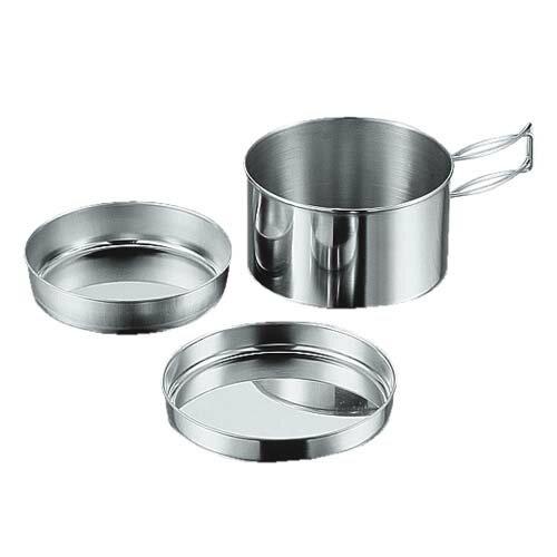 【露營趣】中和 Captain Stag 鹿牌 M-7519 單人行鍋具3件組 不鏽鋼套鍋 碟子 湯鍋 盤子 炊具