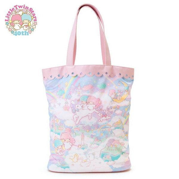 【真愛日本】15091600013閃亮紫手提袋-荷葉邊星星簍空 三麗鷗家族 Kikilala 雙子星 手提袋 手提包 包包