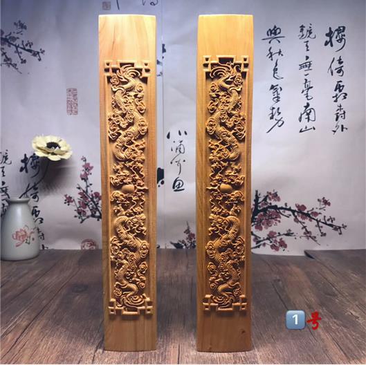 新品龍鳳呈祥鎮尺太行崖柏根雕擺件雕刻精美高油老料禮盒包裝1入