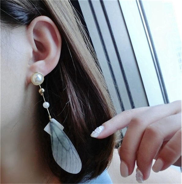 PS Mall 韓版時尚誇張天然石幾何菱形 珍珠羽毛長款耳環 耳墜 【G2316】