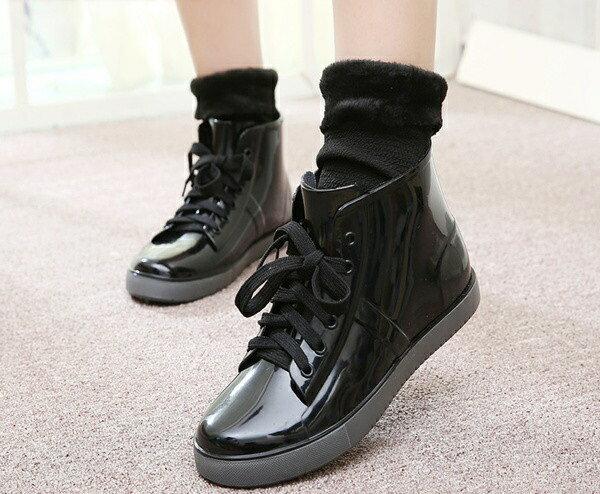 時尚彩色漆皮面雨靴雨鞋男女短筒綁帶低筒防潑水鞋學生鞋短靴雪靴豹紋迷彩彩條黑白格紅黑格