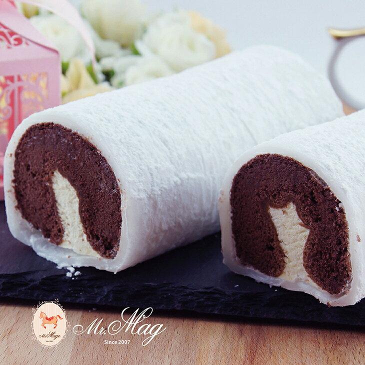 【馬各先生】6入冰心提拉麻吉蛋糕捲~新配方榮耀登場 (一盒6入)QQ麻吉皮,手作多層次蛋糕,特調義式提拉米蘇餡,綿密巧克力蛋糕,冷凍口感有如冰淇淋 0