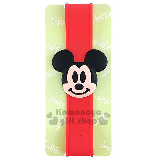 〔小禮堂〕迪士尼 米奇 矽膠便當盒束帶《紅.立體大臉》最大周圍長度30cm