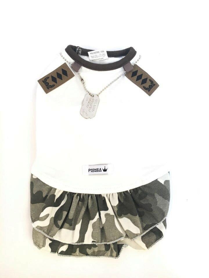 【Hello Jello】韓國Special Forces寵物精品-圓領軍裝迷彩棉質連身裙