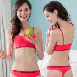 睡衣居家服 運動背心  輕量細肩帶無鋼圈內衣S-XL(桃粉)  【SV5896】快樂生活網