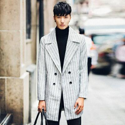 風衣外套中長版條紋大衣-英倫時尚紳士翻領男外套73ip65【獨家進口】【米蘭精品】