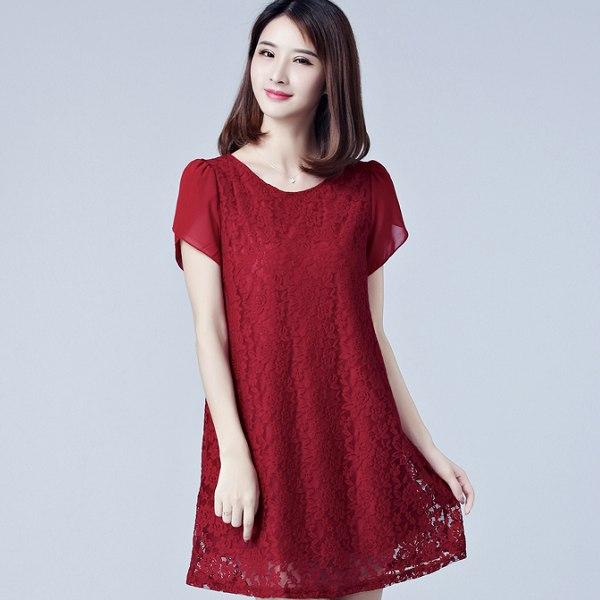 灰姑娘[8051-MH]圓領蕾絲花朵雪紡袖長版連身上衣裙洋裝~