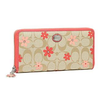 COACH長夾F51339美國 FACTORY女士花朵圖案帆布長款錢包手拿包