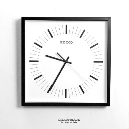 SEIKO精工時鐘  方型黑色框刻度 掛鐘 滑動式靜音秒針 柒彩年代~NG1732~ 貨