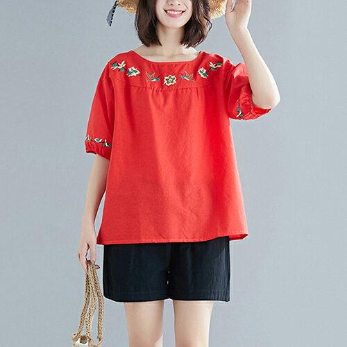 圓領刺繡棉麻大碼短袖T恤(5色L~XL)【OREAD】 2