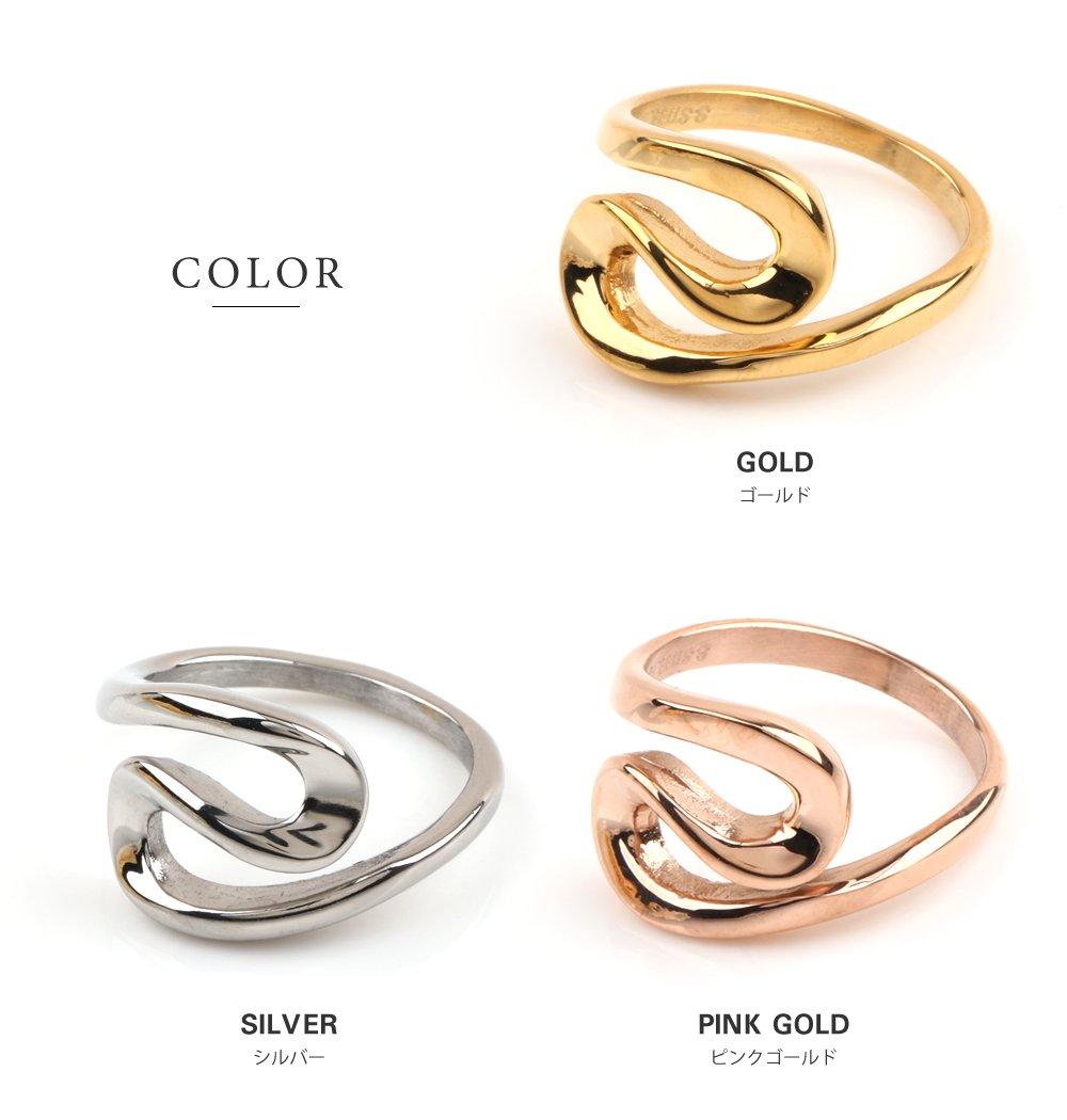 日本CREAM DOT  /  リング 指輪 ステンレス製 低アレルギー レディース 大きいサイズ 9号 12号 15号 17号 カーブリング ファッションリング 大人カジュアル シンプル ゴールド シルバー ピンクゴールド  /  a03643  /  日本必買 日本樂天直送(1790) 2