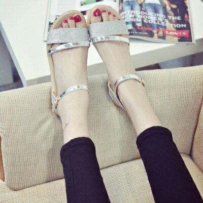 平底鞋亮片羅馬涼鞋~ 簡約優雅百搭女鞋子2色73ey25~ ~~米蘭 ~