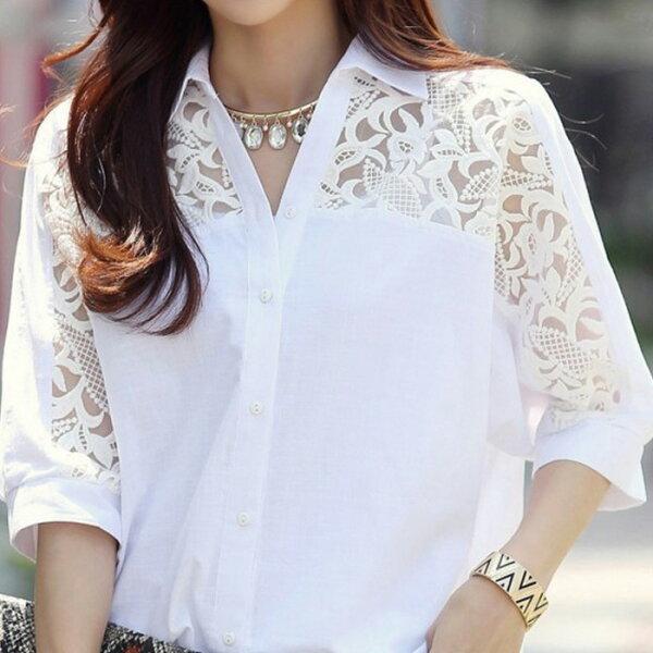 糖衣子輕鬆購【GH5213】韓版時尚潮流蕾絲雪紡5分袖襯衫上衣