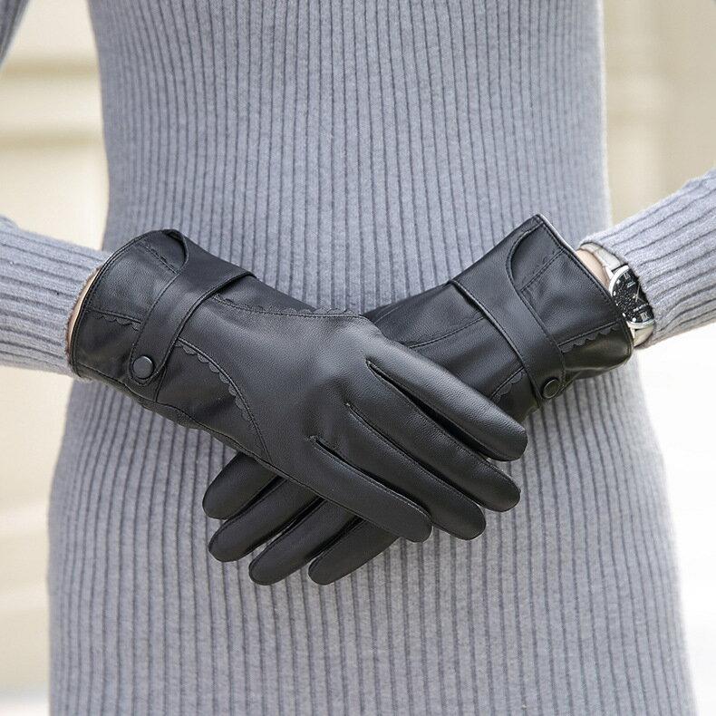 真皮手套保暖手套-羊皮加絨皮扣花邊女手套73wm71【獨家進口】【米蘭精品】 0
