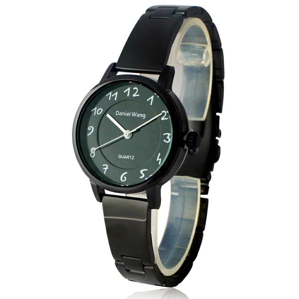 Daniel Wang 3139-IP 典雅小巧錶帶黑框手寫數字質感手錶 3