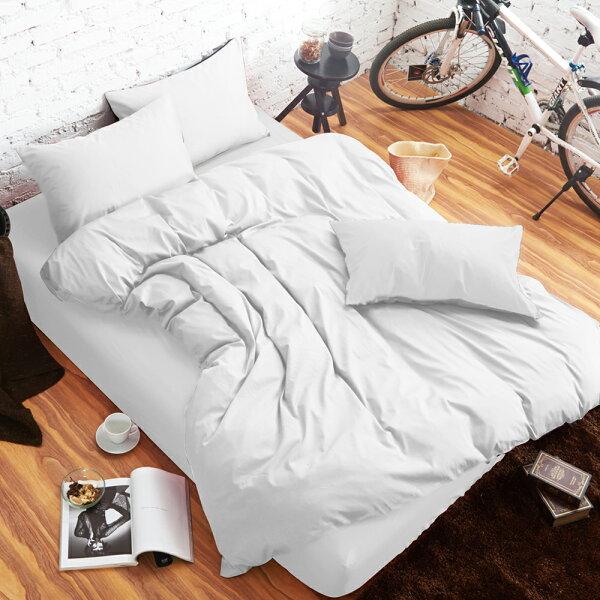 哇哇購:舒柔時尚精梳棉三件式枕套床包組雙人雪白哇哇購