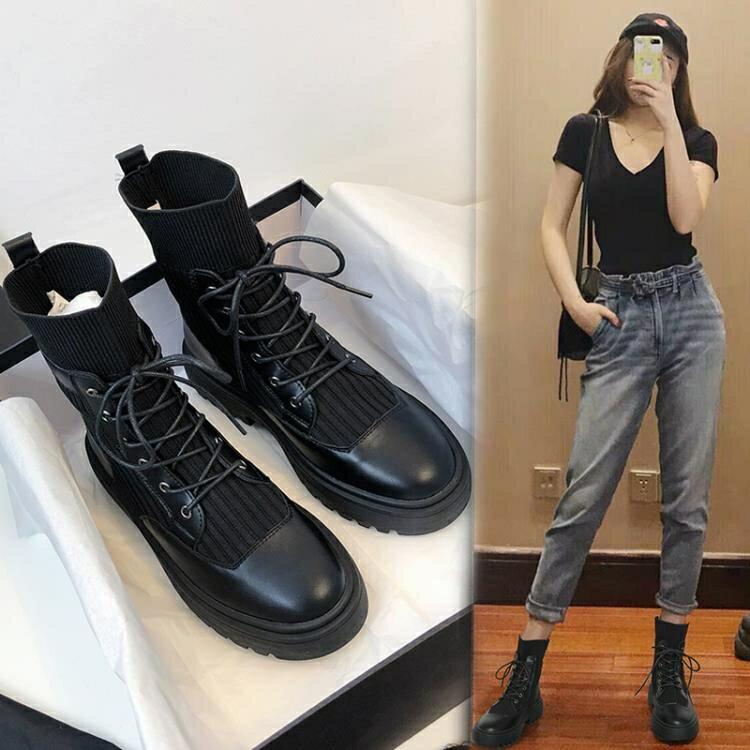 網紅馬丁靴女ins秋季2020年新款春秋鞋單靴英倫風襪靴秋冬短靴子