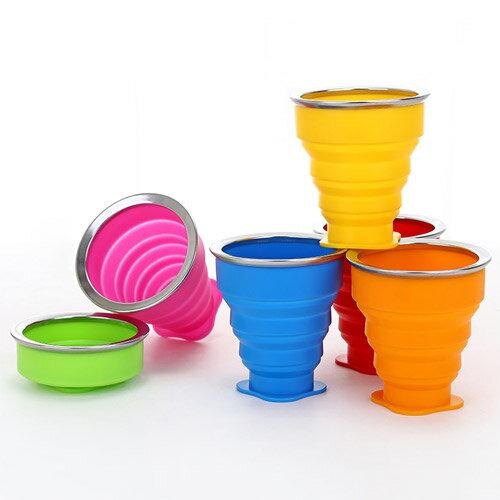 糖果色旅行矽膠折疊杯戶外便攜可折疊水杯多功能創意水杯伸縮杯