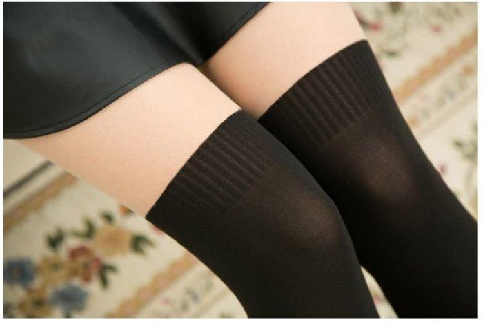 ★草魚妹★F6褲襪螺紋平板拼接絲襪假過膝高筒美腿顯瘦襪絲襪打底襪子,售價170元