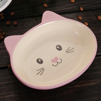 【小樂寵】粉嫩小貓臉淺口陶瓷碗.兩色