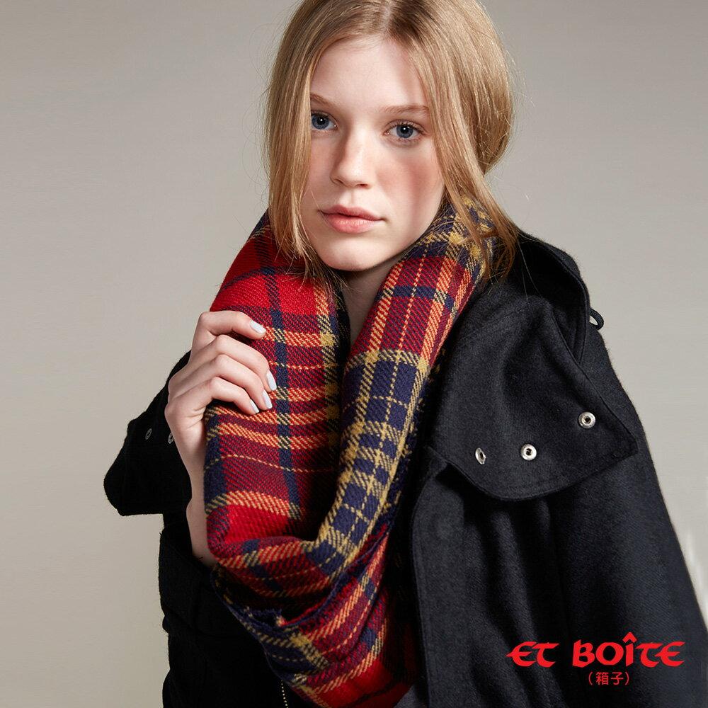【9折限定↘】ET BOiTE 箱子  保暖雙面格紋圍巾
