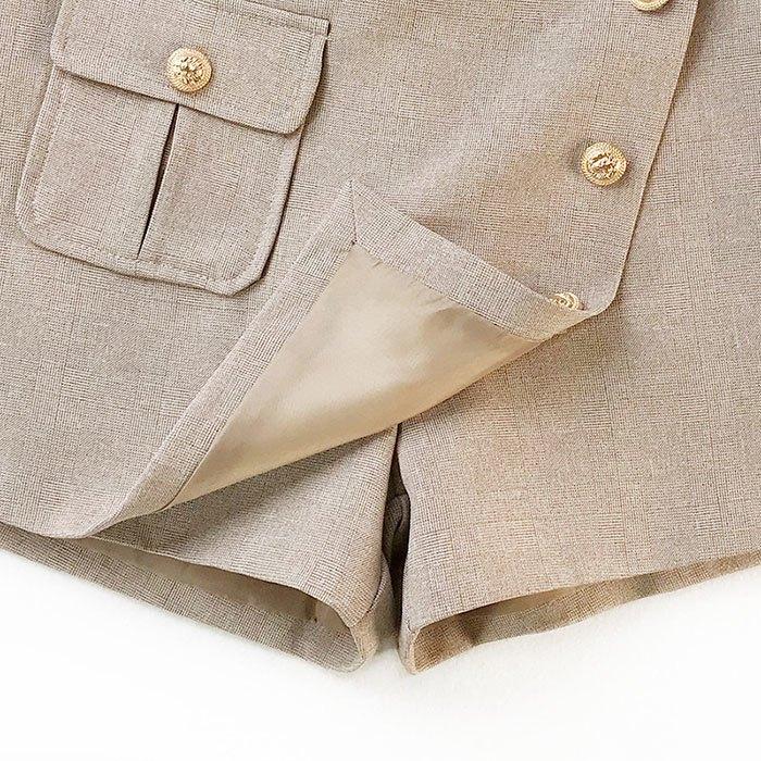 褲裙 素色 金屬 排釦 後拉鍊 短褲 寬管褲 百搭 褲裙【HA853】 BOBI  02 / 14 7