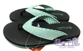 【巷子屋】Limitless利米堤司 女款格紋舒適人字拖鞋/夾腳拖鞋 [1432] 綠 MIT台灣製造 超值價$98