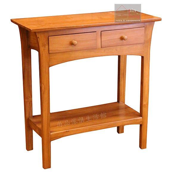 ~尚品傢俱~640~09百分百柚木二抽長桌^~玄關桌書桌沙發背桌