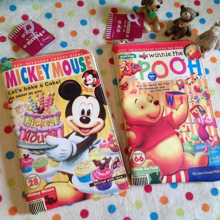 =優 =~  250~  迪士尼米奇 維尼仿雜誌封面筆袋 多用途收納袋 文具收納 手帳貼紙
