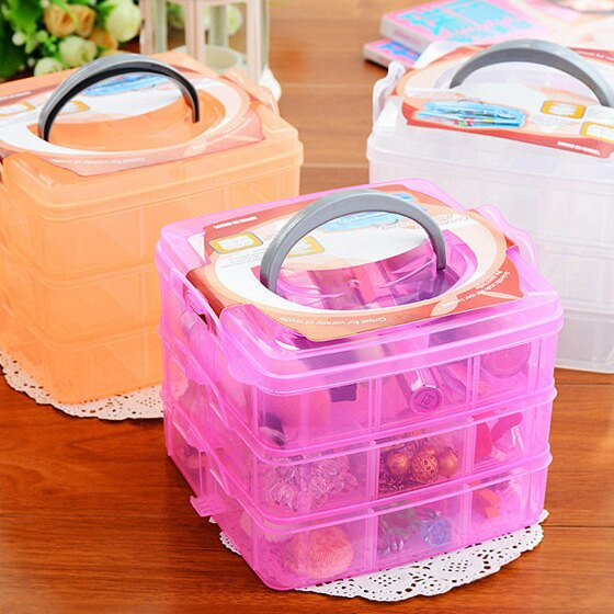 【省錢博士】三層可拆格塑膠收納盒 / 透明收納盒 / 塑膠首飾盒 99元