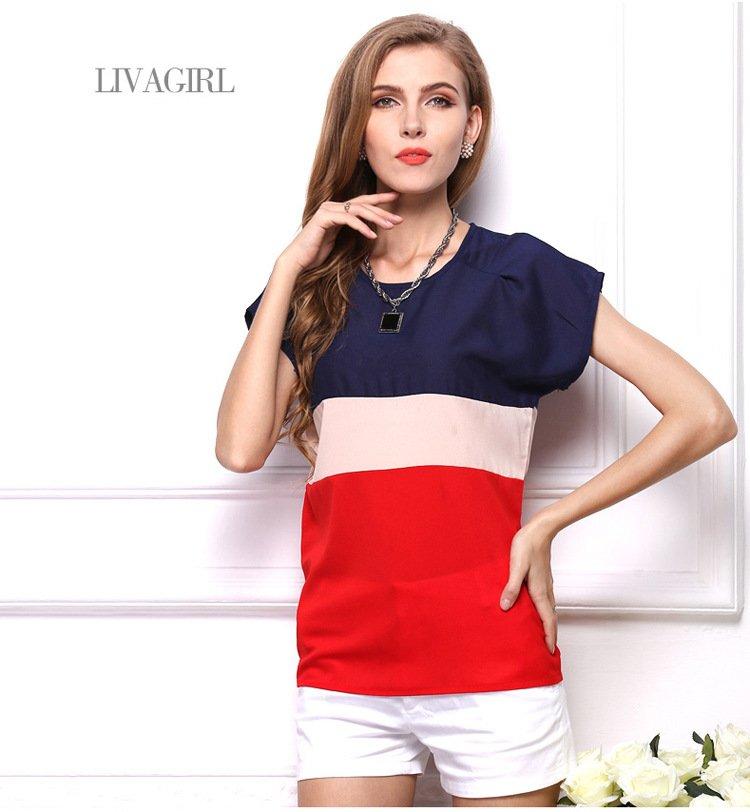 歐美新款女裝 背心撞色拼接百搭雪紡衫寬鬆內搭衫上衣 2色 VAI1215