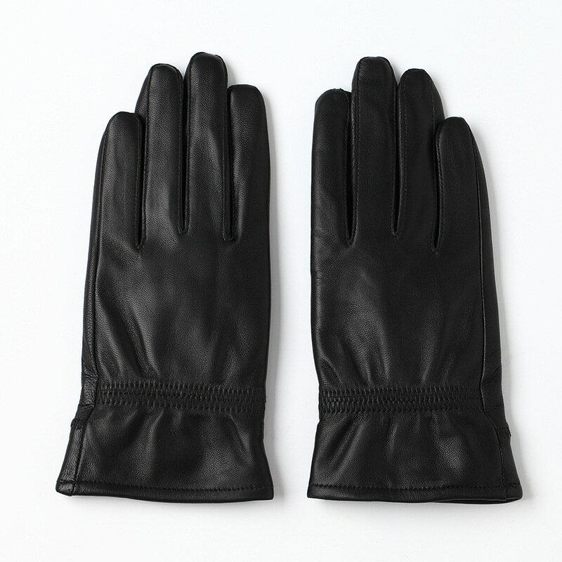 真皮手套保暖手套-羊皮加絨簡約版型女手套73wm58【獨家進口】【米蘭精品】 0