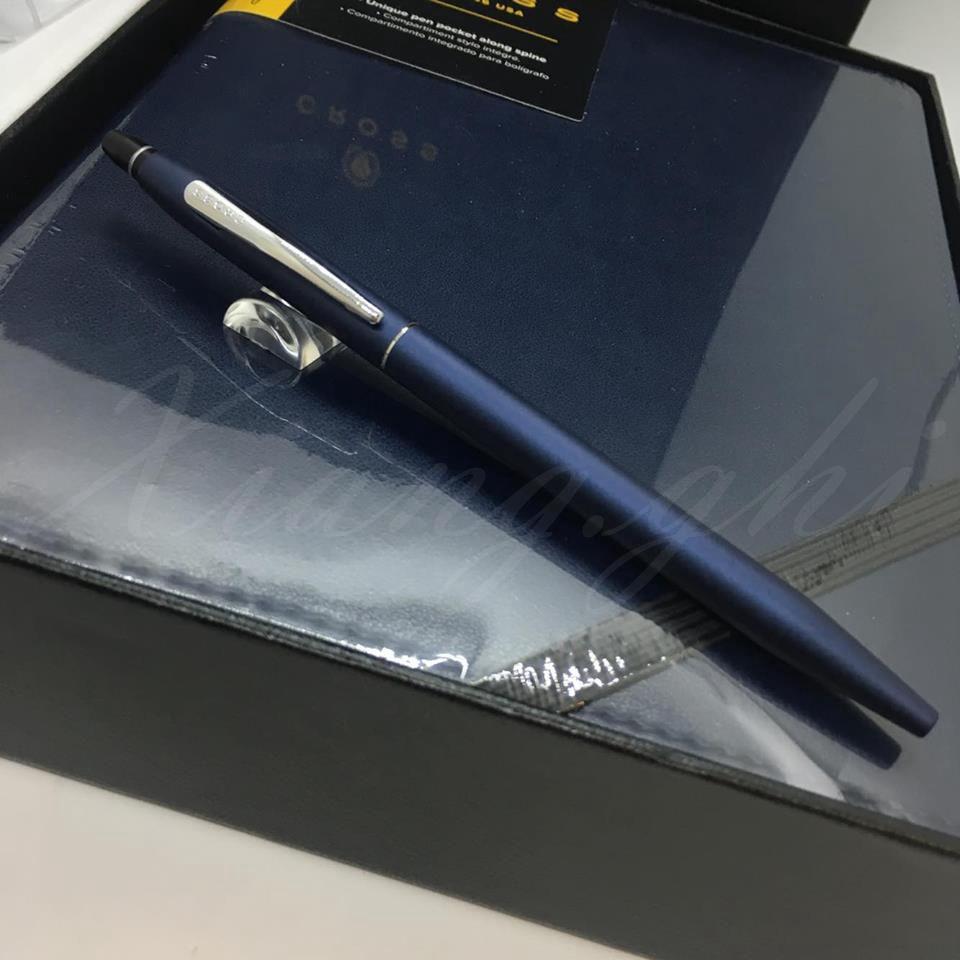 高仕CROSS-原子筆-立卡系列-午夜藍-藍色筆記本禮盒組