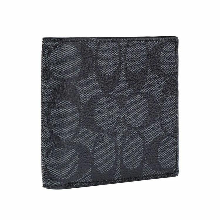 COACH  F75006 男款短款對折錢包錢夾黑色 2