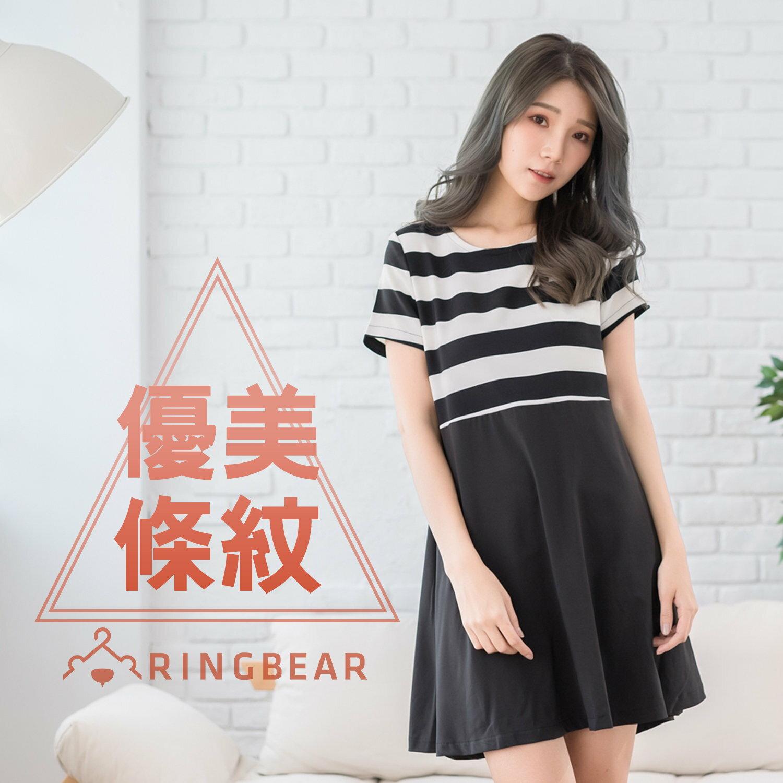 洋裝--名媛氣質立體剪裁黑白粗節條紋拼接圓領傘襬短袖連身裙(黑XL-5L)-D329眼圈熊中大尺碼 0