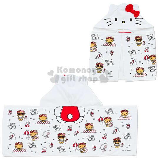 〔小禮堂〕Kitty 兒童造型連帽浴巾《白.泳衣.40x110cm》海灘度假系列