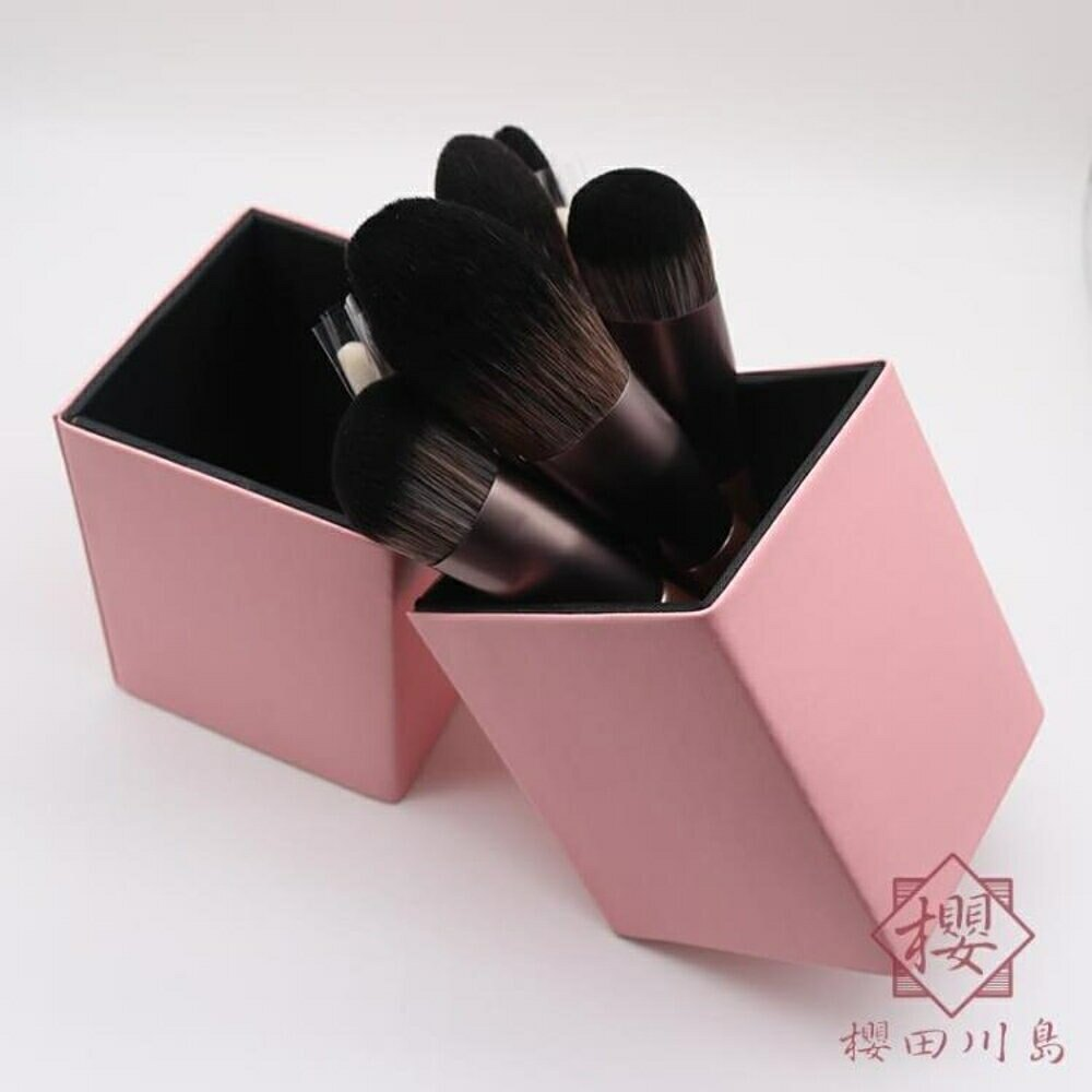 化妝刷桶 皮質桶美妝刷收納筒桶磁吸式收納桶防塵【櫻田川島】