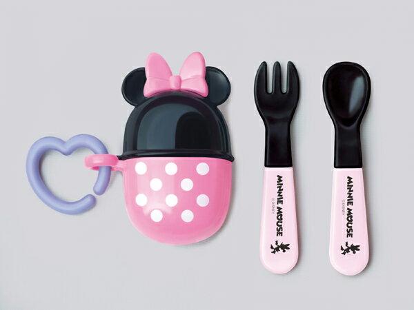 ★衛立兒生活館★日本 迪士尼 Disney 米妮攜帶餐具叉子+湯匙組 附收納盒