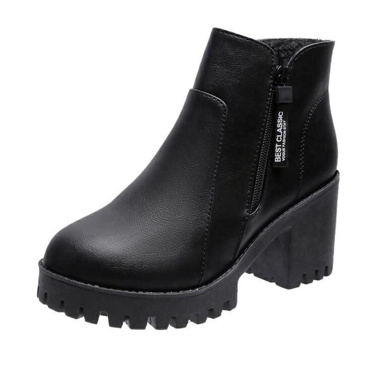 高跟短靴 切爾西短靴女2021秋冬季新款英倫風粗跟百搭網紅高跟馬丁靴ins潮