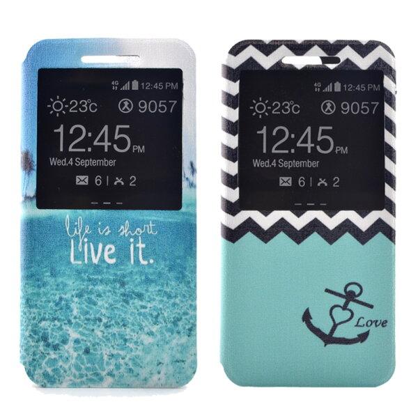ASUSZenFone2(5.5吋)時尚彩繪手機皮套側掀支架式皮套海軍波紋熱帶島嶼