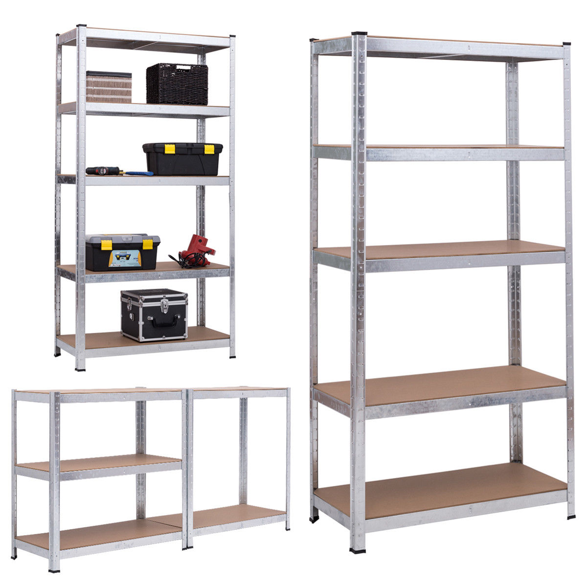 "71/"" Adjustable Heavy Duty Storage Shelf Steel Metal Garage Rack 5 Level  Shelves"