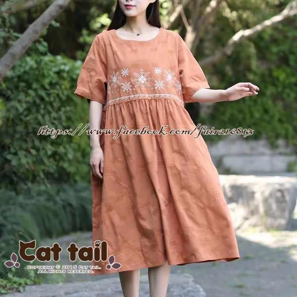《貓尾巴》CH-01954民族風文藝刺繡短袖連身裙(森林系日系棉麻文青清新)